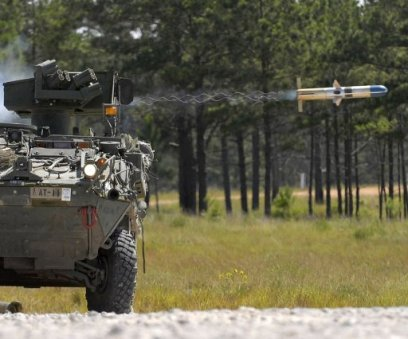 TOW anti-tank missile being fired from Canadian-made light armoured vehicle